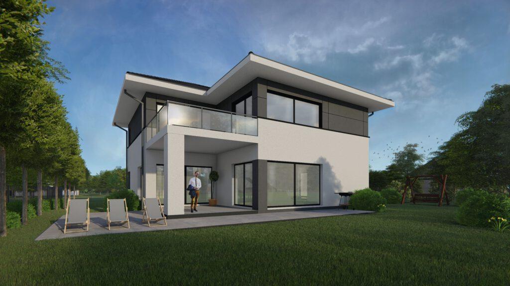 projekt domu dwukondygnacyjnego, balustrada ze szkla, CPD Architekci